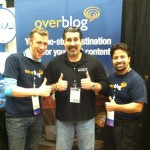 Fred Montagnon, David Gamble and Victor Canada at Overblog booth NMX 2013