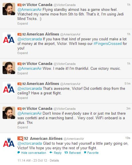 Great example of company engagement between @VictorCanada and @AmericanAir